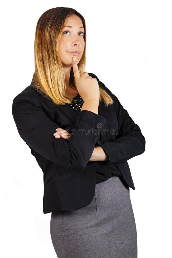 Twijfel die de vrouwelijke uitdrukking van het besluitsucces denken Vrouw met vinger op lippen royalty-vrije stock fotografie