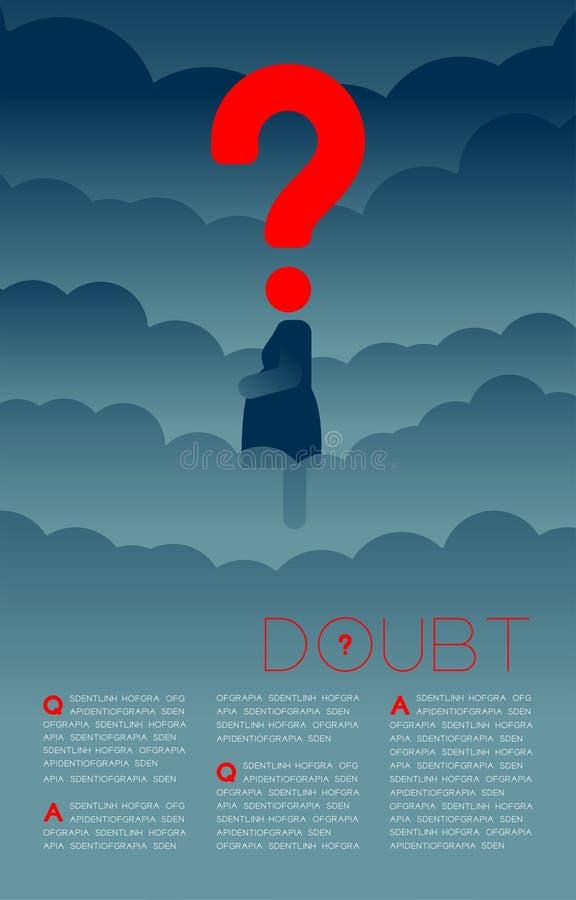 Twijfel zwangere vrouw met het pictogram blauwe en rode, Sociale kwesties van het Vraagtekenpictogram: Verontreiniging PM 2 de la stock illustratie