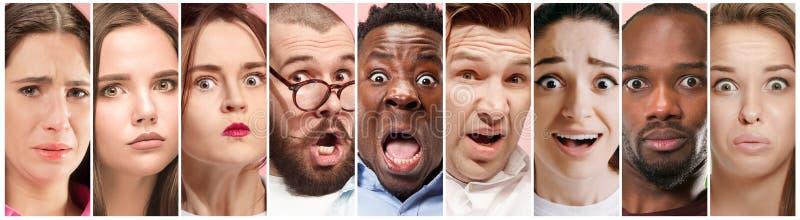 Twijfelachtige mensen met nadenkende uitdrukking, creatieve collage stock afbeeldingen