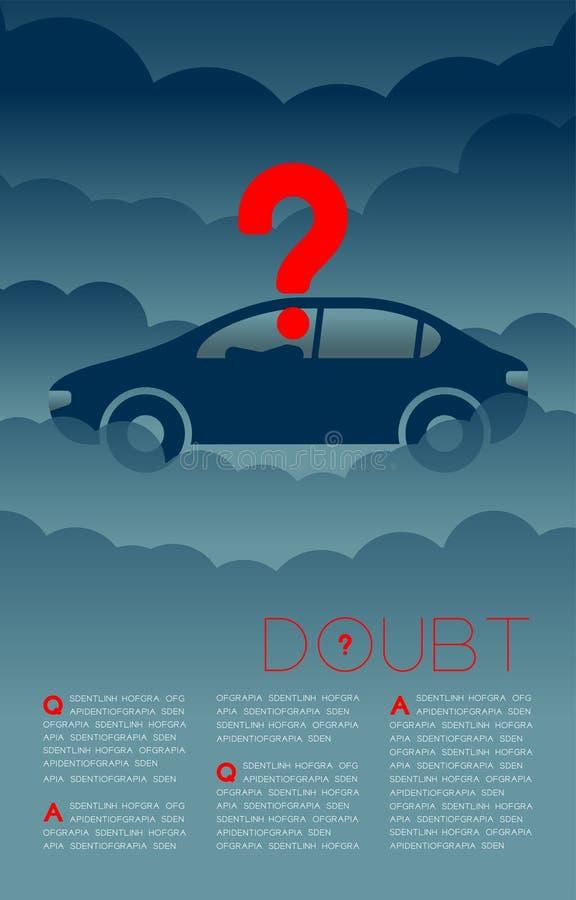 Twijfelmens in auto met het pictogram blauwe en rode, Sociale kwesties van het Vraagtekenpictogram: Verontreiniging PM 2 de lay-o stock illustratie