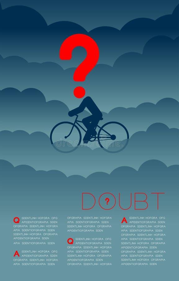 Twijfelmens en fiets met het pictogram blauwe en rode, Sociale kwesties van het Vraagtekenpictogram: Verontreiniging PM 2 de lay- royalty-vrije illustratie