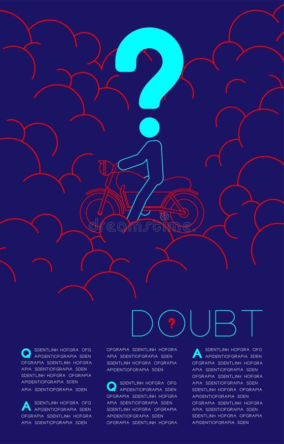 Twijfelmens en motorfiets met het pictogram blauwe en rode, Sociale kwesties van het Vraagtekenpictogram: Verontreiniging PM 2 de vector illustratie