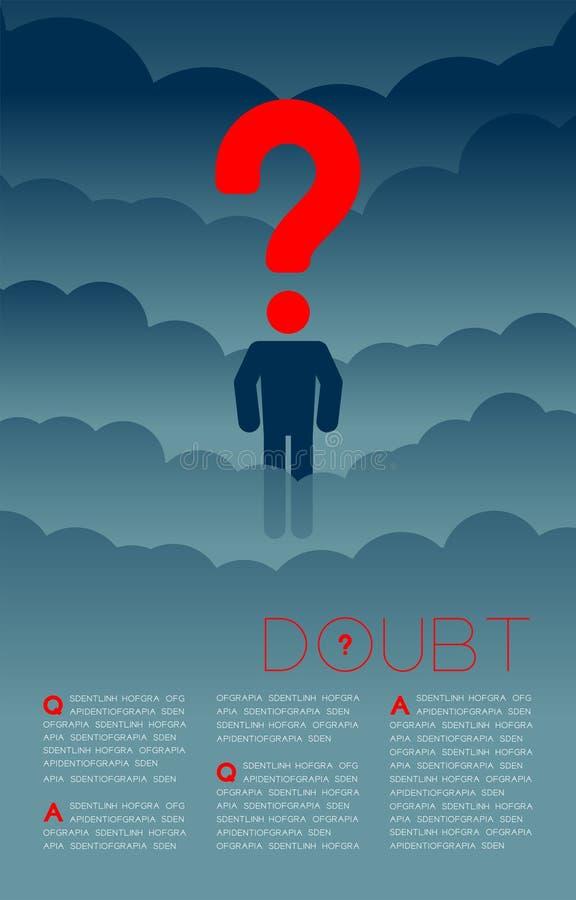 Twijfelmens met het pictogram blauwe en rode, Sociale kwesties van het Vraagtekenpictogram: Verontreiniging PM 2 de lay-outontwer royalty-vrije illustratie