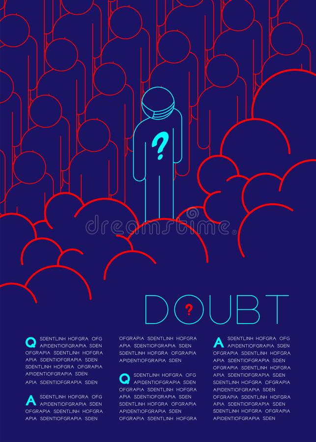 Twijfelmens met het pictogram van het Vraagtekenpictogram in rij blauwe en rode, Sociale kwesties: Verontreiniging PM 2 de lay-ou stock illustratie