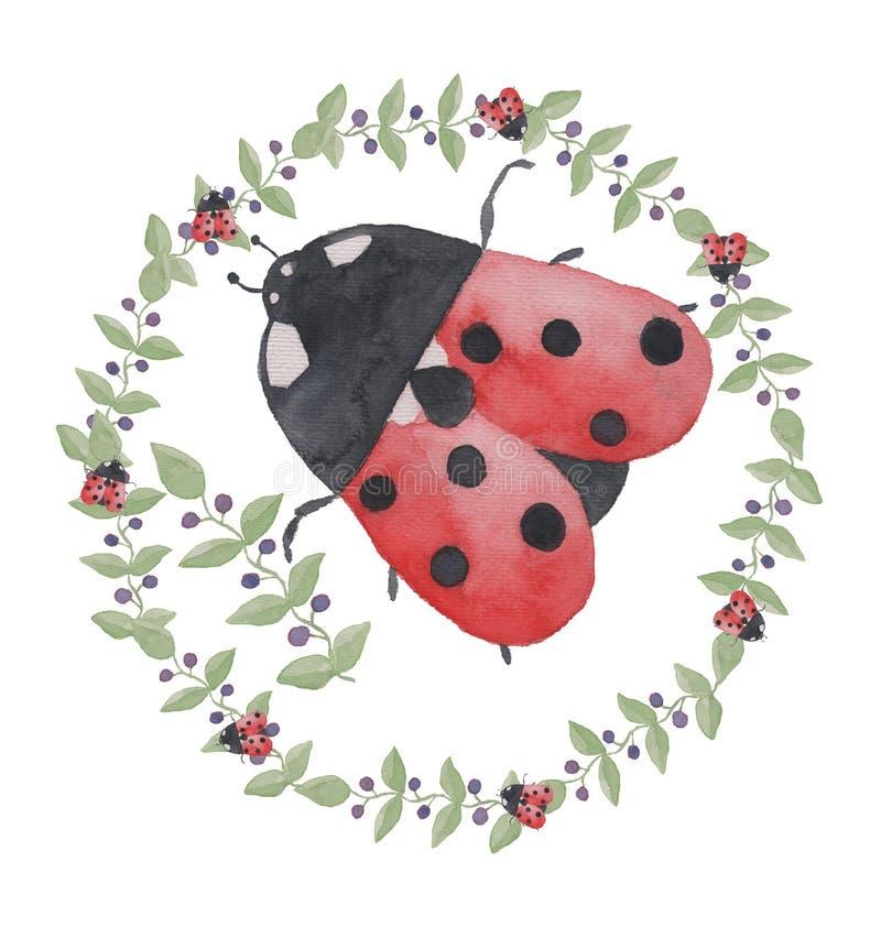 Twijg met bladeren en bessen en een onzelieveheersbeestje, kroon watercolor vector illustratie