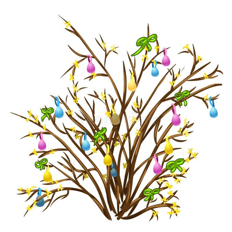 Twijg van gele die bloemen met linten worden verfraaid vector illustratie
