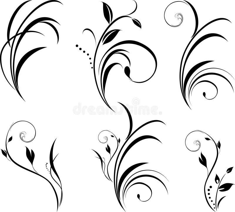 Twijgen. Bloemen elementen voor decor royalty-vrije illustratie