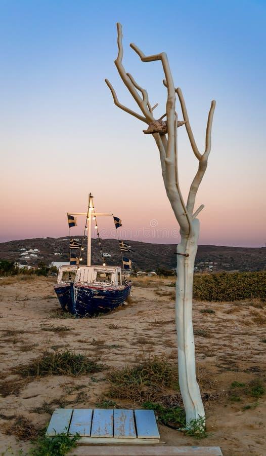 Twilight время в пляже Plaka, в Naxos, Греция стоковое фото rf