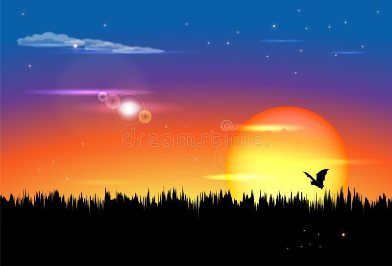 Twilight заход солнца иллюстрация вектора