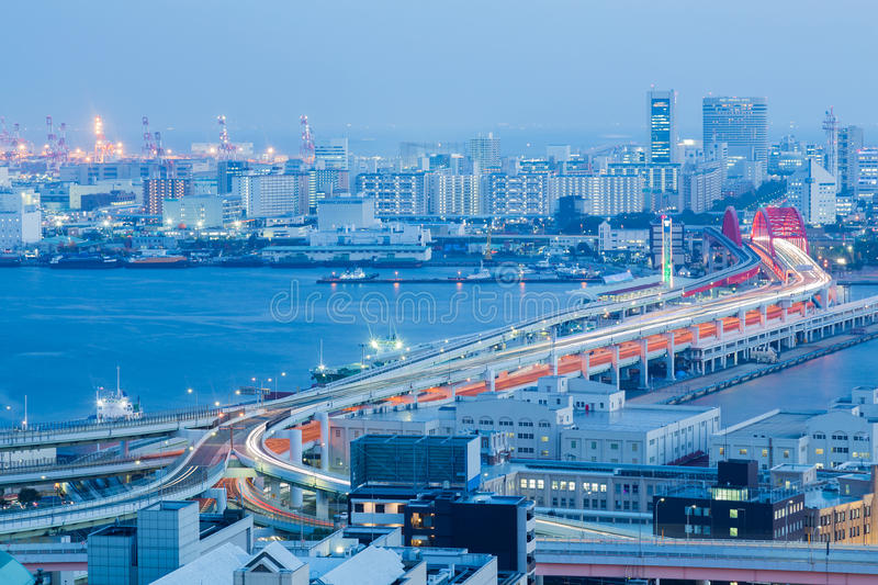 Twilight, aerial view Kobe city central business and highway intersection. Over sea port, Japan stock photos
