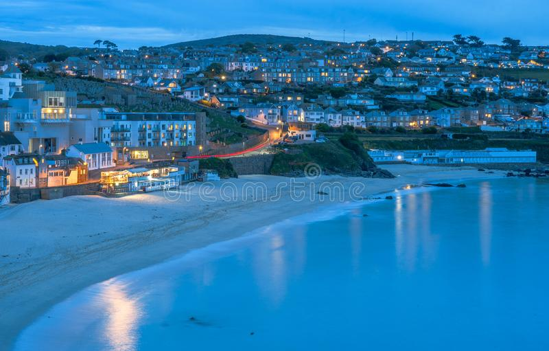 Twilight at the beautiful seaside town of St. Ives in Cornwall, England royalty free stock photo