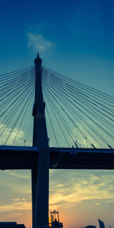 Twilight at Bhumiphol Bridge Bangkok stock photography