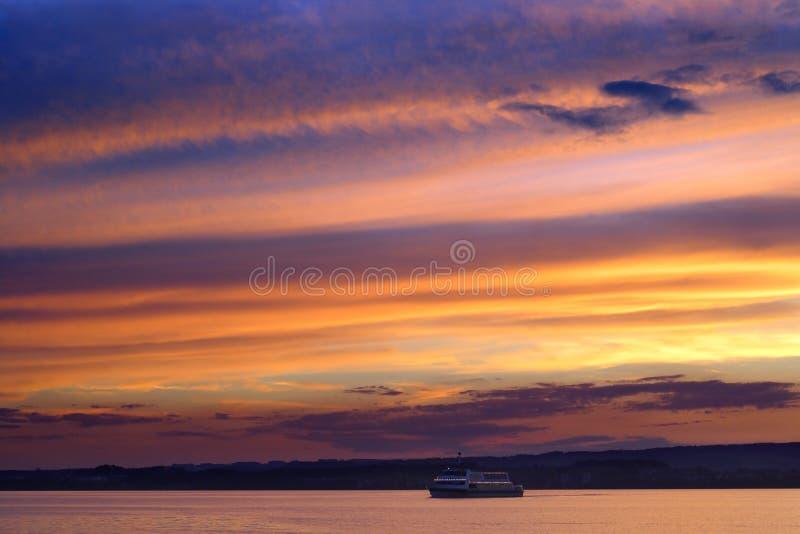 Twilight boat cruise royalty free stock image