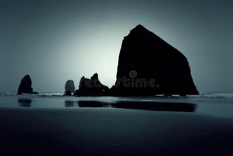 Twilight Cannon Beach stock photo