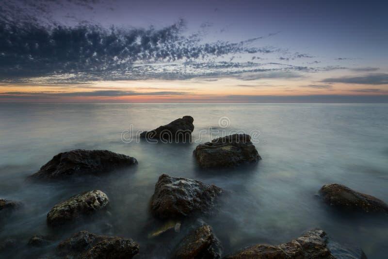 Twilight on the Cossack Bay. Majestic Sunset on the Cossack Bay. Sevastopol, Crimea stock photography