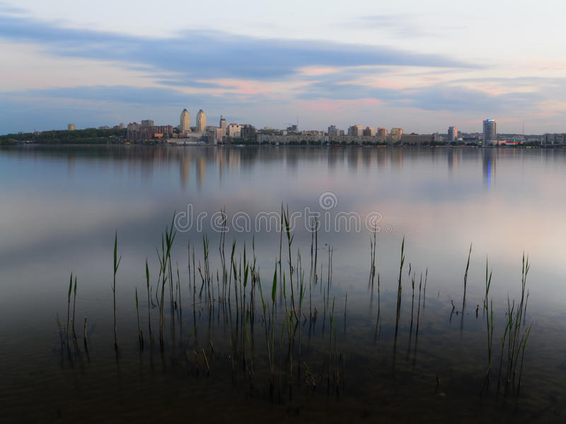 Twilight Dnipropetrovsk. Twighlight in the Dnipropetrovsk with reflection. Ukraine royalty free stock photo