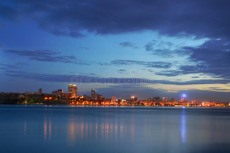 Twilight Dnipropetrovsk. View of the waterfront at dusk Dnipropetrovsk royalty free stock image