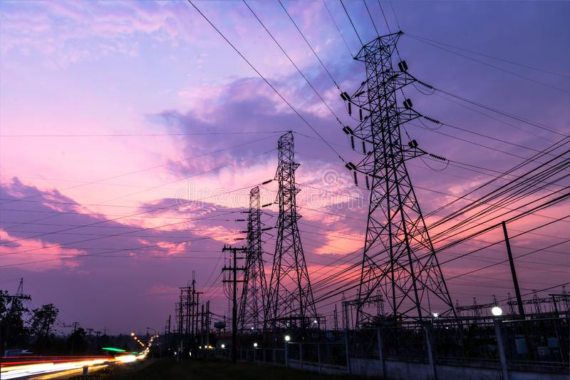 Twilight high voltage royalty free stock image