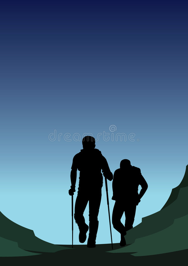 Download Twilight Hikers stock illustration. Image of mountaineer - 7233001