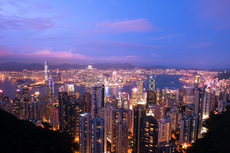 Twilight Hong Kong. A view of modern hong kong at twilight royalty free stock image