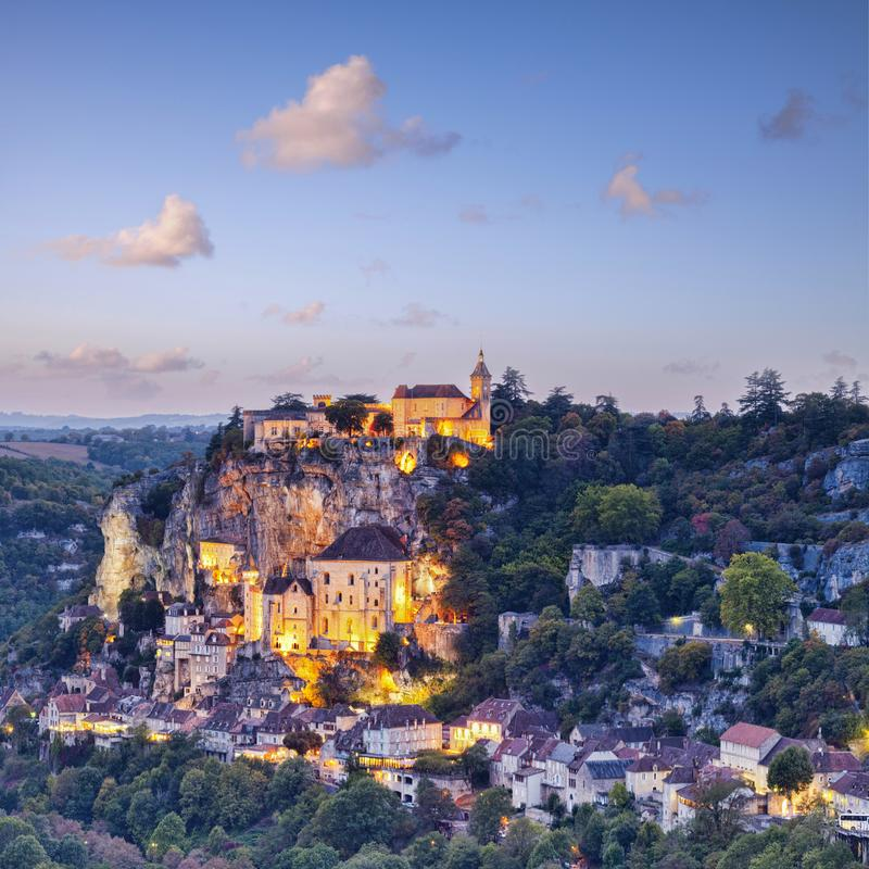 Rocamadour Midi-Pyrenees France Twilight. Twilight at the medieval town of Rocamadour, in the Dordogne Valley, Midi-Pyrenees, France royalty free stock image