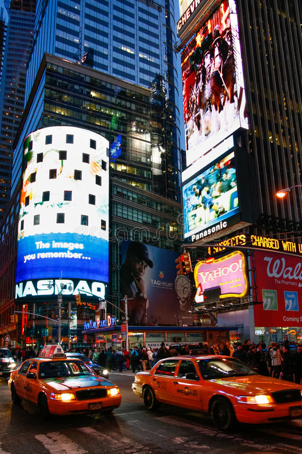 Broadway Theater Signs At Night In New York City Editorial