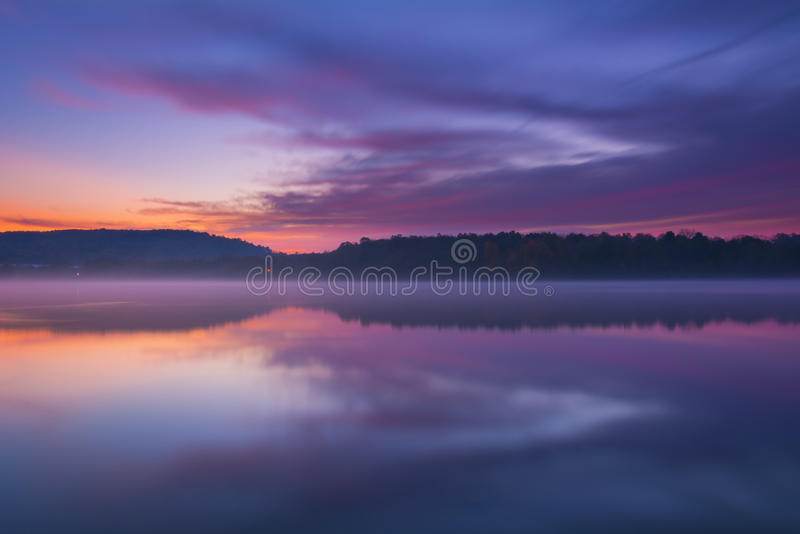 Download Twilight and Misty Lake stock image. Image of colors - 42603279