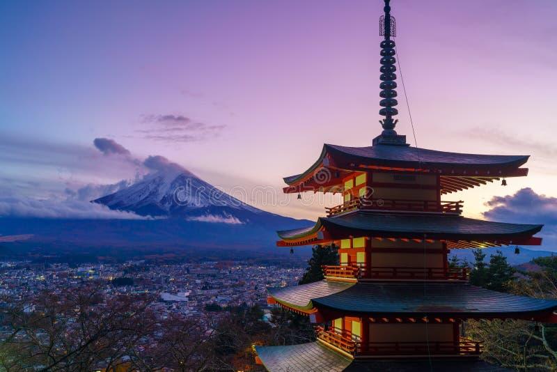 Twilight at mount Fuji with Chureito pagoda, Japan stock photos