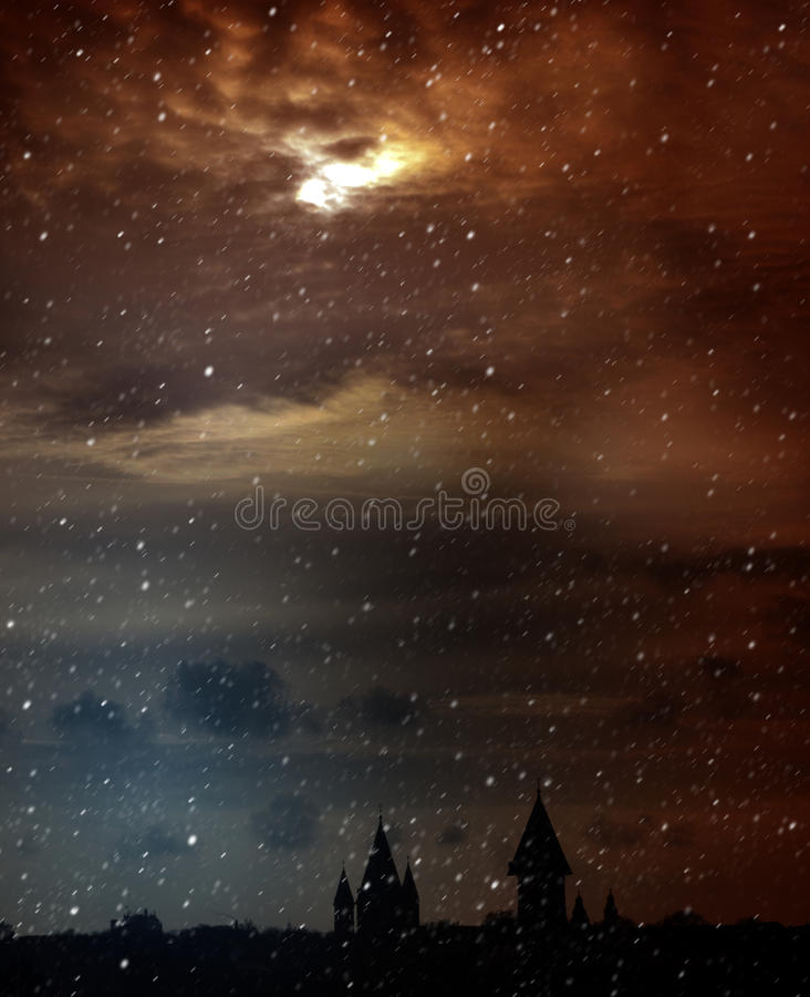 Twilight. Mysterious Scenic Landscape with Spooky Cloudy Moon. Mystery. Night Scenic Landscape with Spooky Moonlight. Postcard stock images