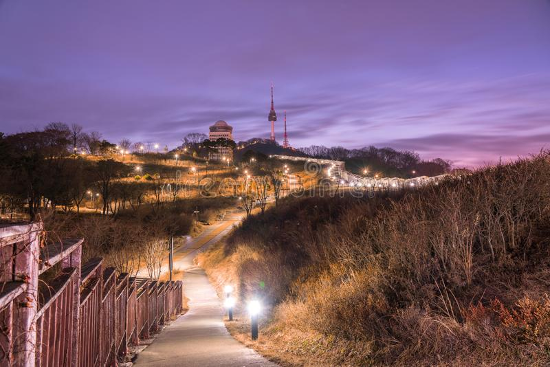 Twilight at namsan park and purple sky,seoul south korea. Twilight at Namsan Park and purple sky in winter stock image