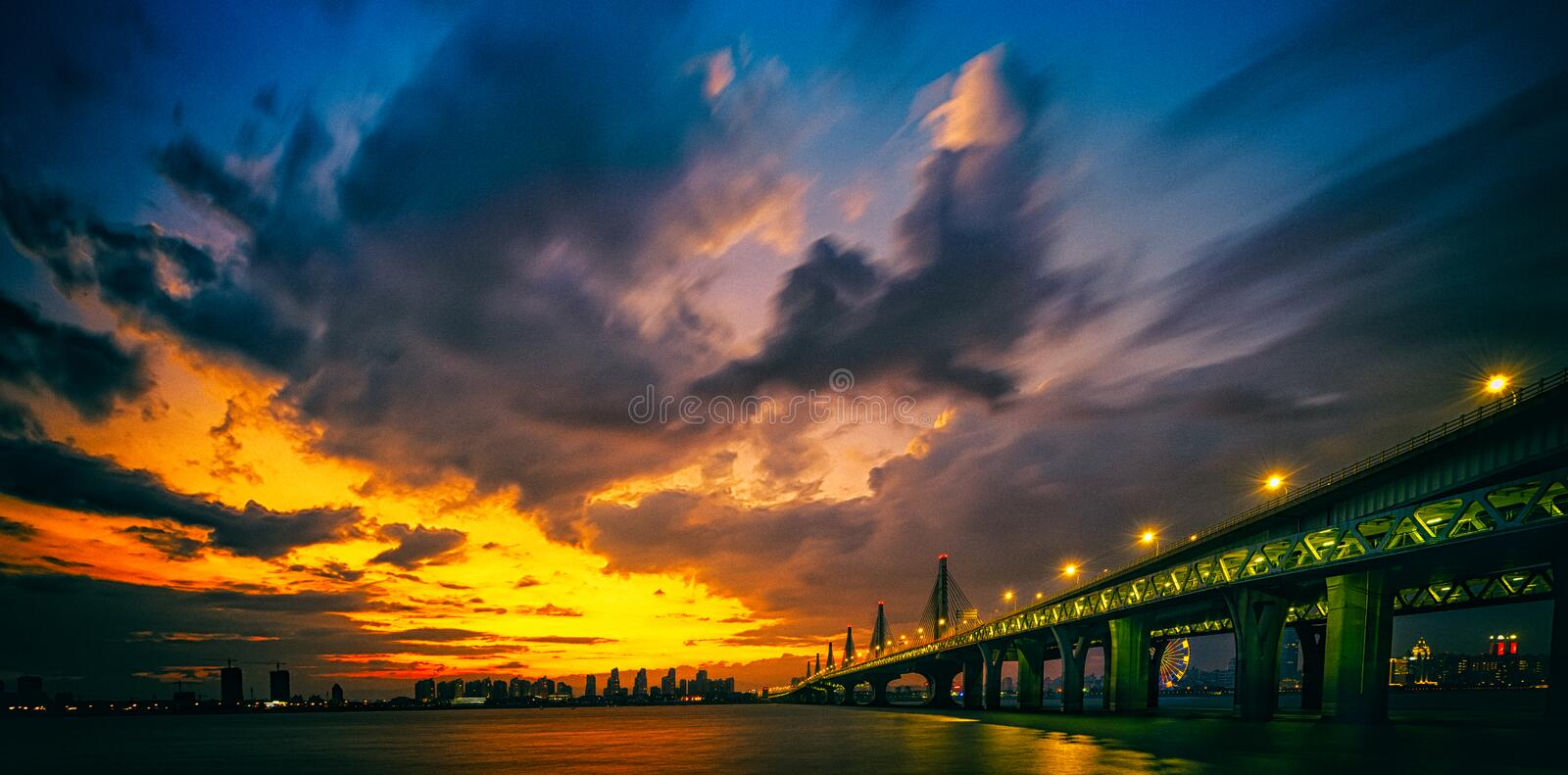 Twilight Night of Yangtze River Bridge. Chaoyang Bridge is about 3.6 kilometers long and its deck is 33.5 to 40.5 meters wide. Chaoyang Bridge in Nanchang is the royalty free stock photo