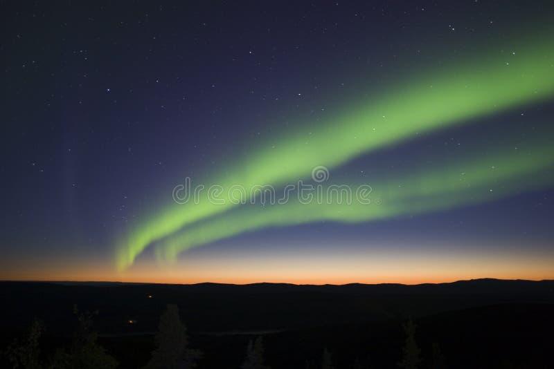 Twilight and northern lights stock photo