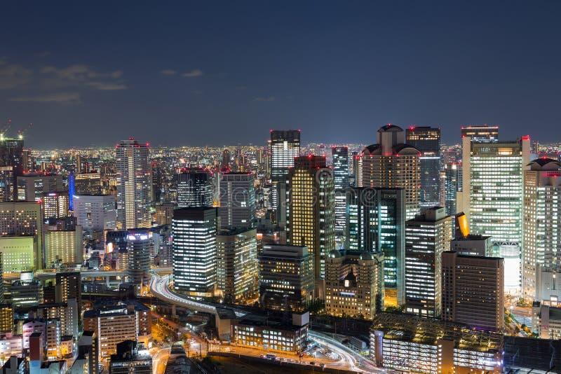 Twilight, Osaka city downtown central business background. Japan stock photos
