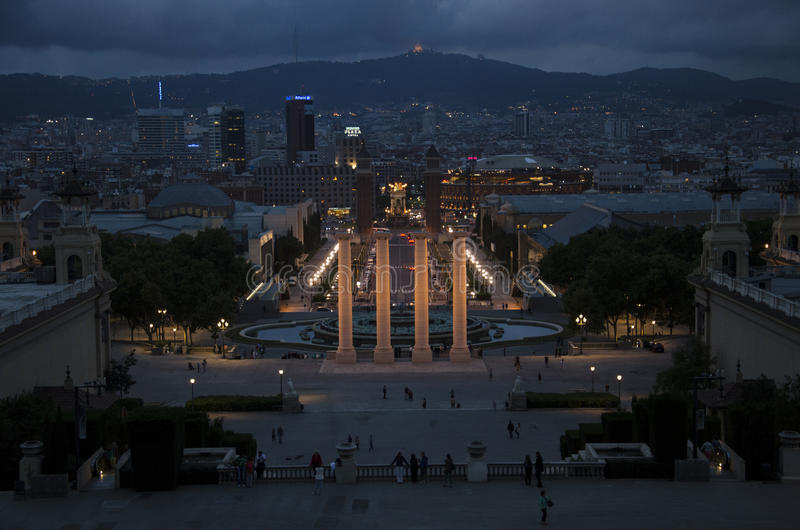 Twilight over Barcelona stock images