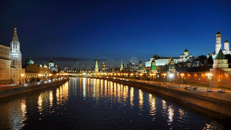 Twilight over the City of Moscow - Moscow by Night stock photography