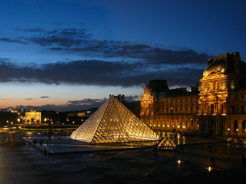 Twilight over Louvre 05, Paris, France royalty free stock photo
