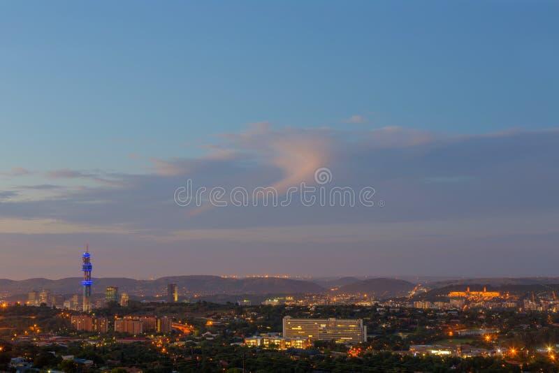 Twilight over Pretoria CBD stock image