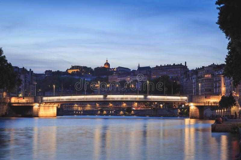 Twilight over the Saone. Beautiful dusk at the shore of the Saone river in Lyon. France royalty free stock images