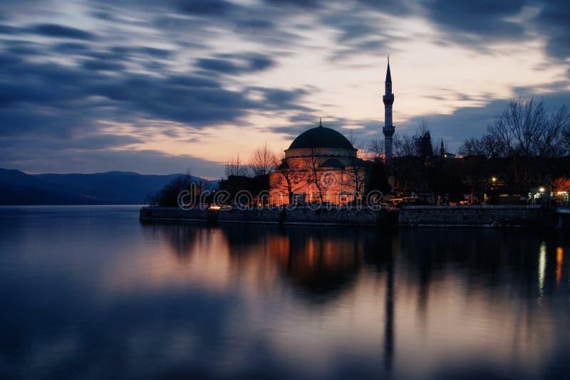 Twilight photo of Golyazi, Mosque, Bursa royalty free stock image