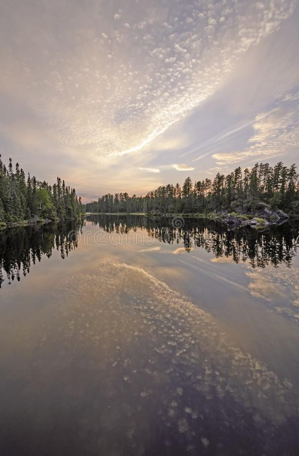 Twilight Reflections in the North Woods stock images