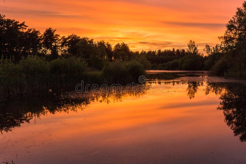 Twilight with reflections in a pond at the Waterschei National Park near Genk stock photos