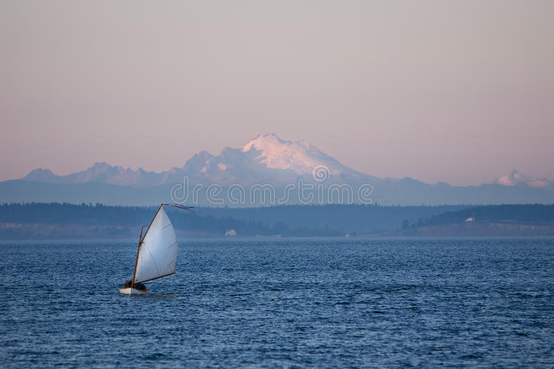 Twilight sailing in Puget Sound royalty free stock photos