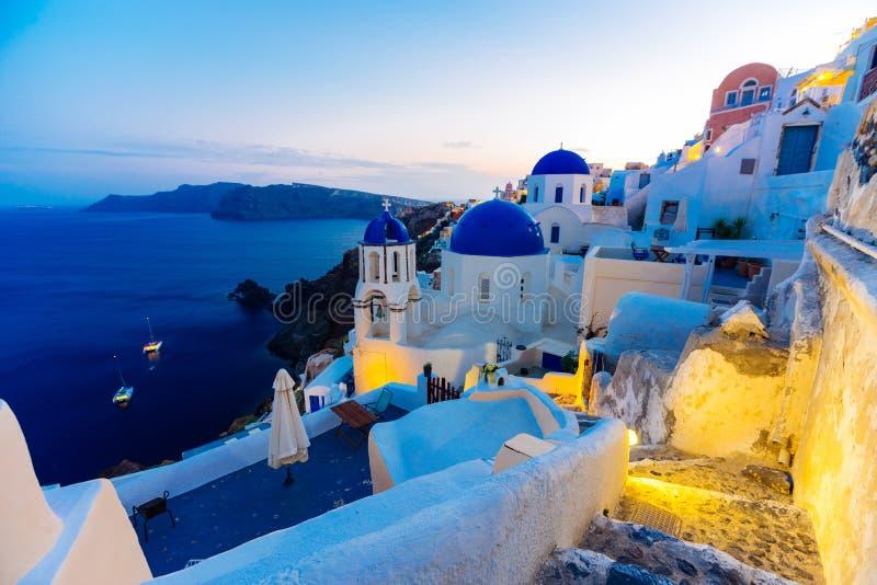 Twilight on Santorini royalty free stock photography