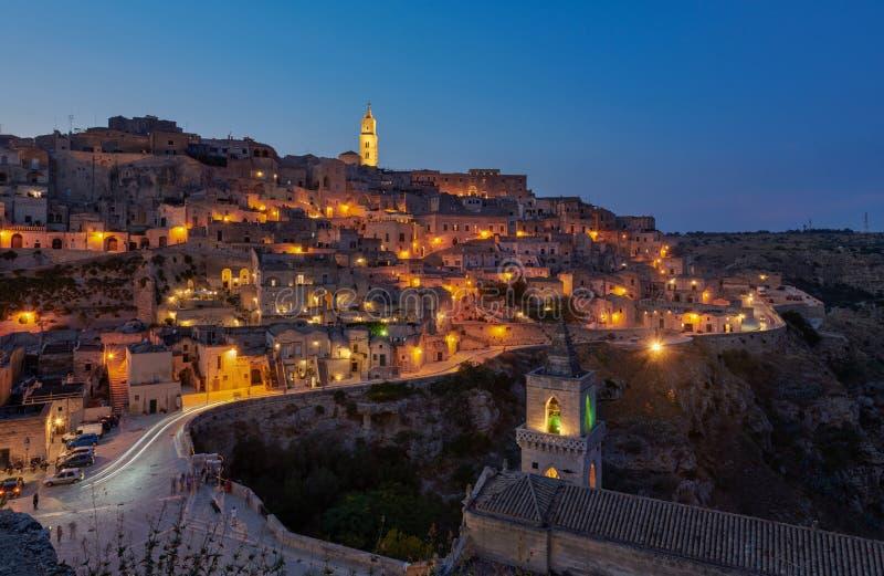 Twilight at Sassi Di Matera stock images