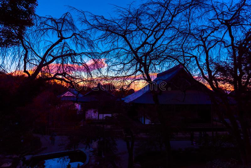 Twilight and silhouette at Tenryuji temple, Kyoto, Japan royalty free stock image