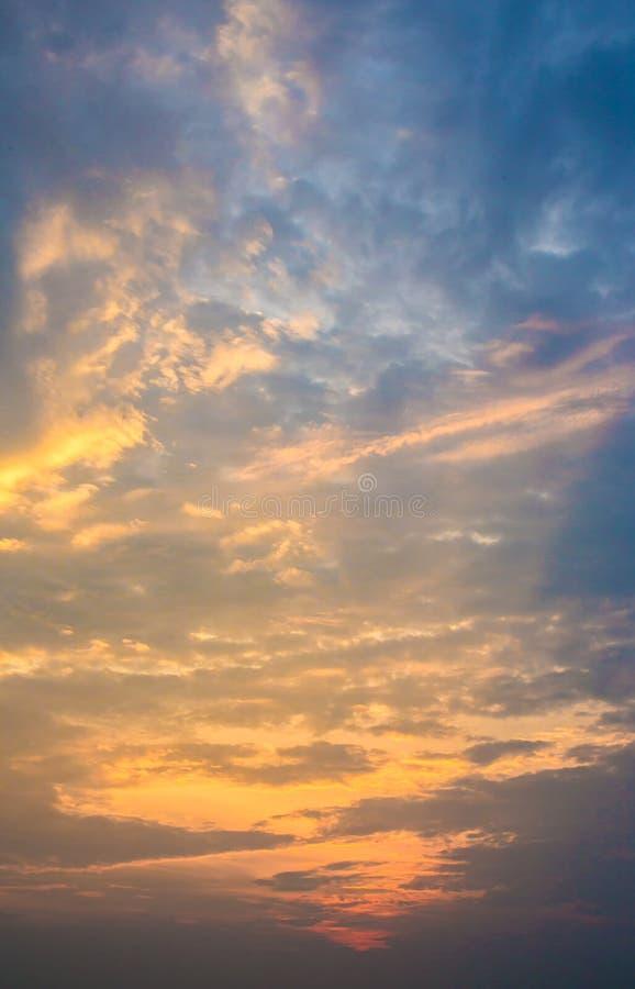 Twilight sky background. Colorful Sunset sky and cloud.vivid sky in twilight time background.Fiery orange sunset sky. royalty free stock photography