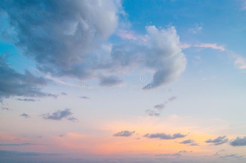 Twilight sky with blue, yellow and orange colors in background at the evening in Koh Mak Island at Trat, Thailand.  stock photography