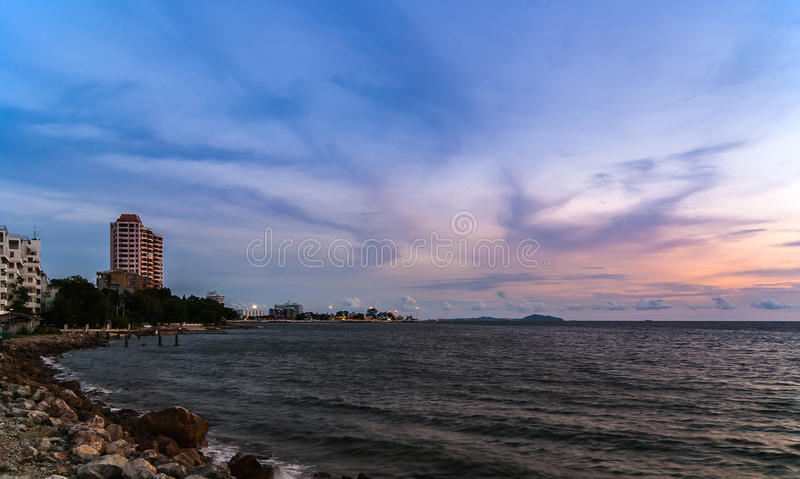 Twilight sky with colorful sunset and clouds stock image