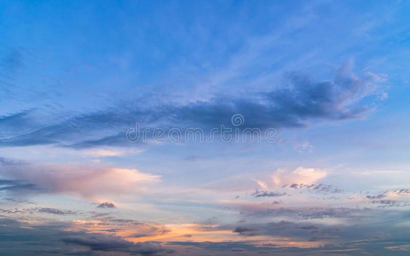 Twilight sky with colorful sunset and clouds royalty free stock photos