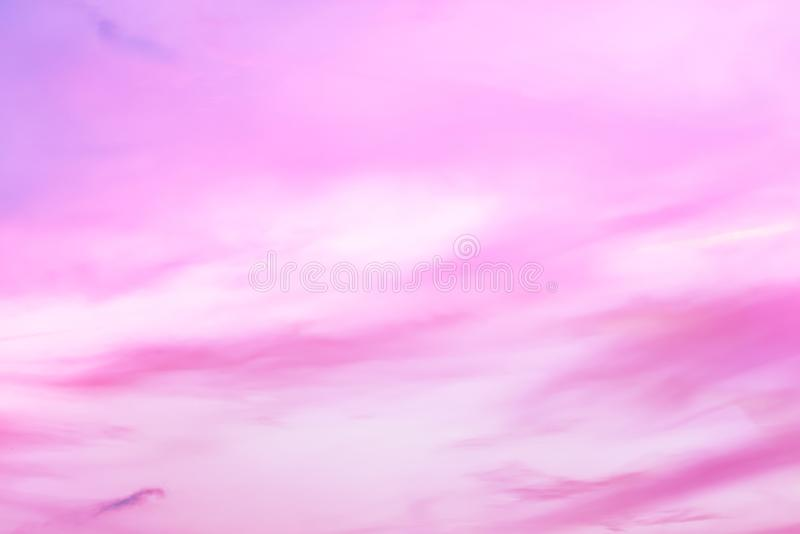 Twilight sky with effect of light pastel tone. Colorful sunset of soft clouds stock image